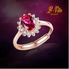 Rose Gold plated ring with red Ruby gemstone and variable size