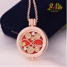 "Necklace diffuser of perfume or essential oil ""Love"" with rhinestones"