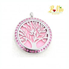 """Necklace diffuser of perfume or essential oil """"The tree of life"""" with color rhinestone"""