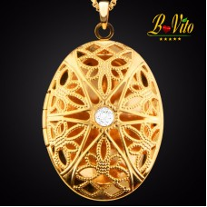 """Necklace diffuser of perfume or essential oil locket ellipse """"Flower"""" with rhinestone, gold plated"""
