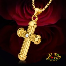 Necklace gold plated pendant cross, rhinestone