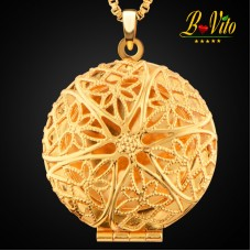 """Necklace diffuser of perfume or essential oil locket round """"Flower"""" , gold plated"""