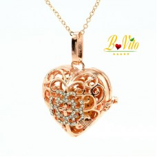 "Necklace diffuser of perfume or essential oil ""Heart"" with rhinestones  and lava pumice balls"