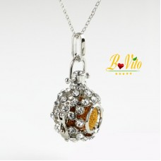 "Necklace diffuser of perfume or essential oil ""Ball"" with rhinestones  and lava pumice balls"