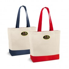 Solid cotton bag with colored handles and inner pocket