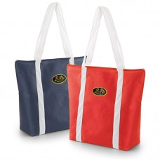 Non-woven textile bag with long handles and zipper